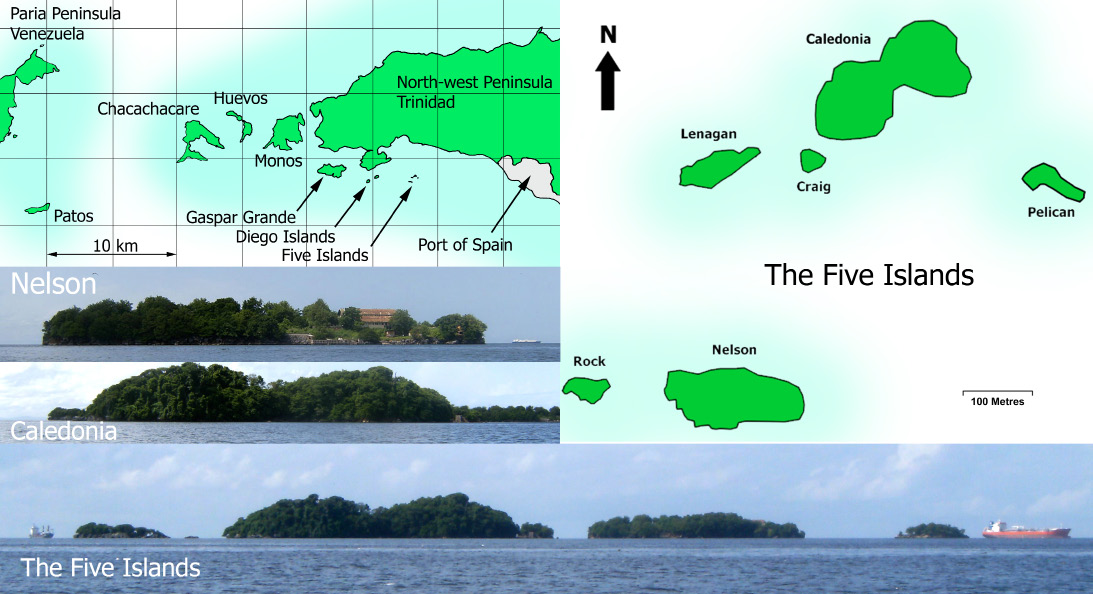Fig. 1. The Five Islands, Trinidad and Tobago. Images are edited from the 2008 work of R45 on Wikipedia under a CC 3.0 license, apart from the first, which is redrawn from MOD (1970).