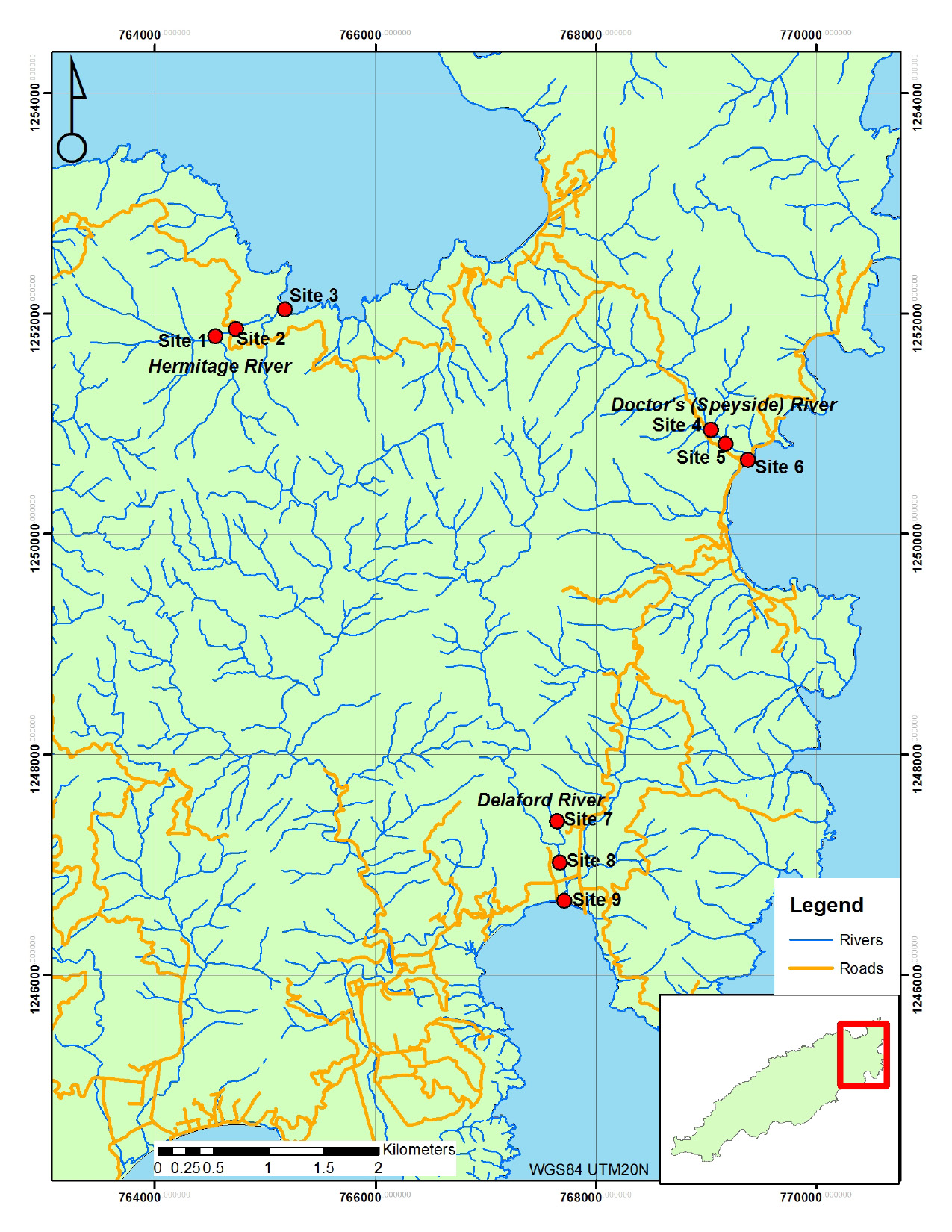 Fig. 1. Sample locations in northeast Tobago.