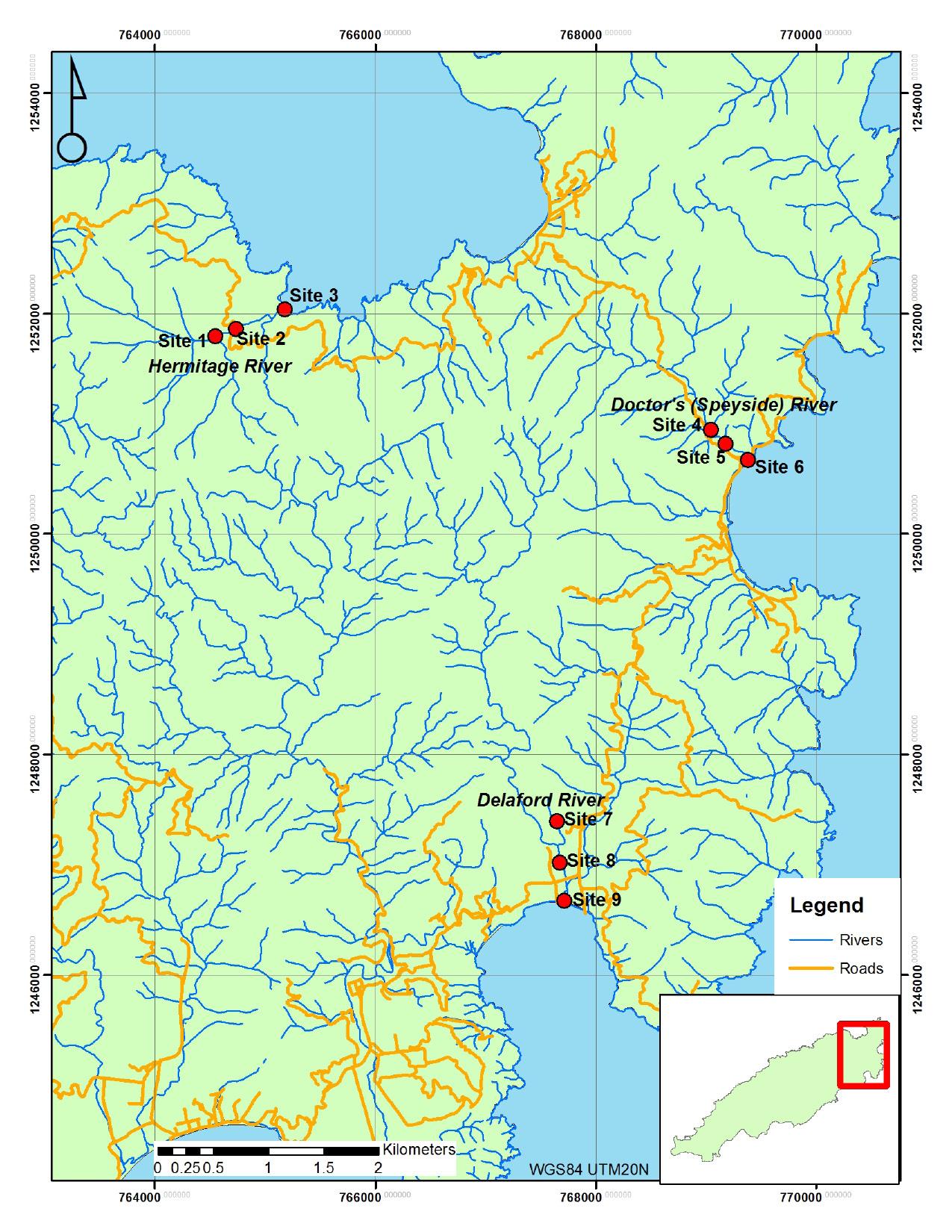 Fig. 1. Sample locations in northeast Tobago.