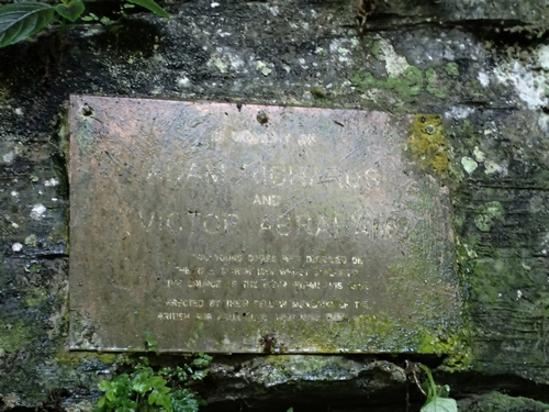 Plate at cave entrance in memory of the two divers.